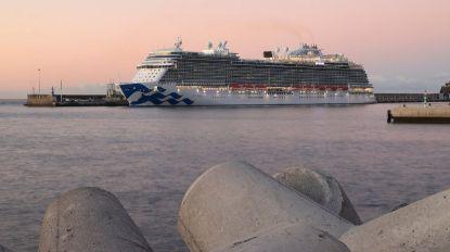 Veja as fotos da estreia do navio Sky Princess no porto do Funchal