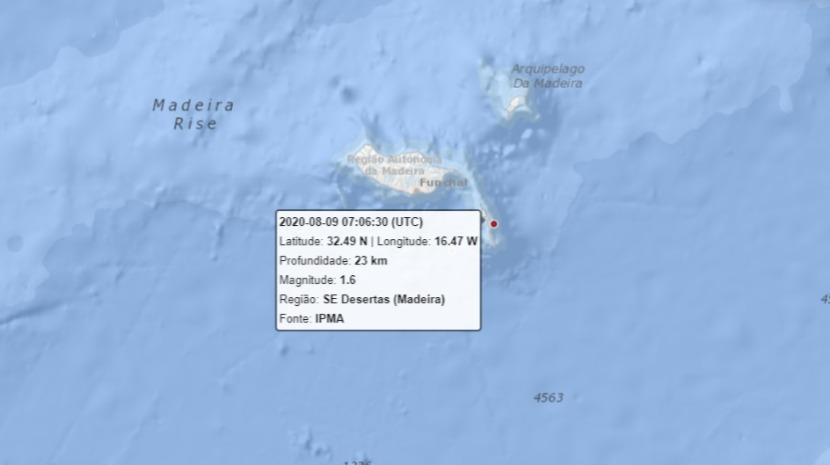 Sismo registado esta manhã na Madeira