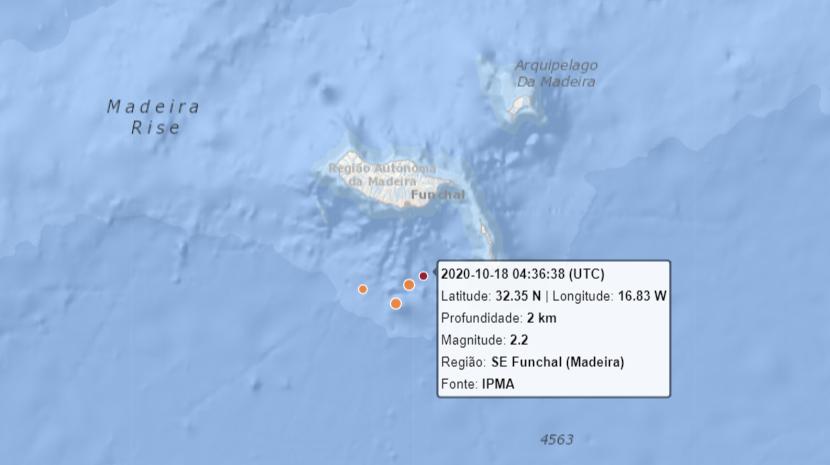 Sismo de magnitude 2.2 na escala de Richter a sudeste do Funchal