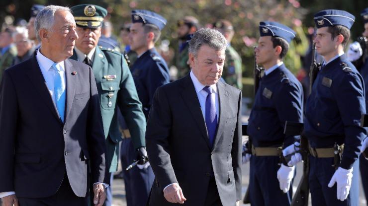 """Marcelo expressa apoio de Portugal ao Presidente da Colômbia """"construtor da paz"""""""