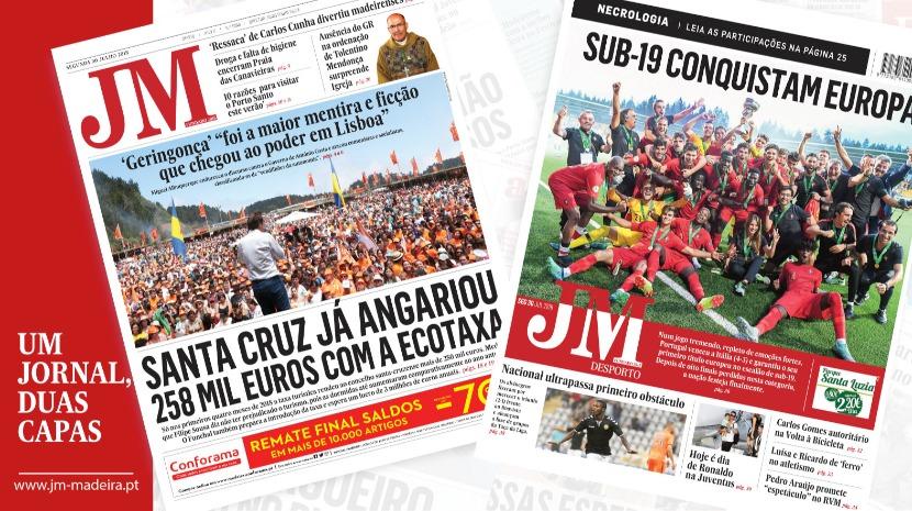 JM-Edição Impressa: Santa Cruz já angariou 258 mil euros com a ecotaxa - Desporto: Sub-19 conquistam Europa