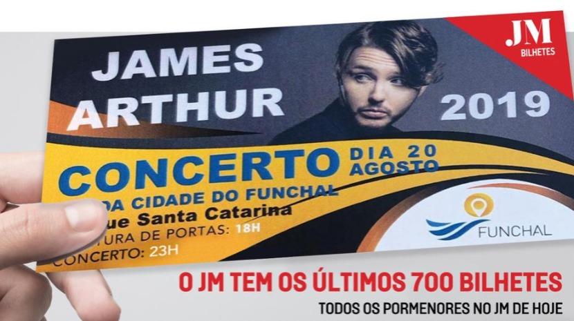 James Arthur: O JM irá distribuir os últimos 700 bilhetes