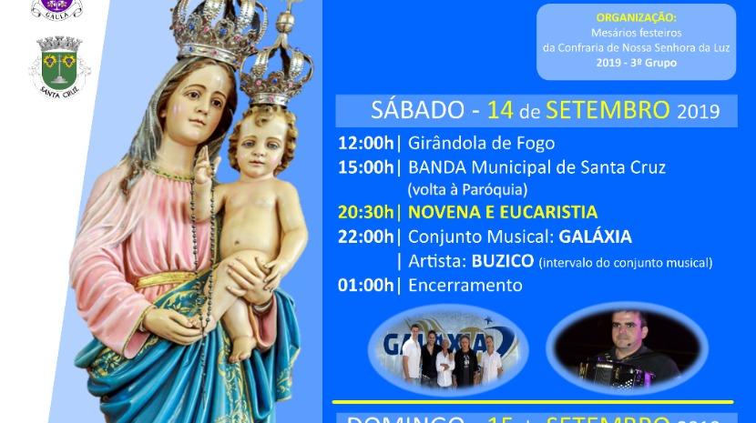 Festa de Nossa Senhora da Luz 2019 na Paróquia de Gaula a 14 e 15 de setembro