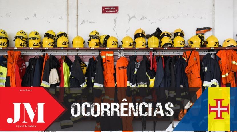 Bombeiros combatem incêndio em papeleira no Funchal