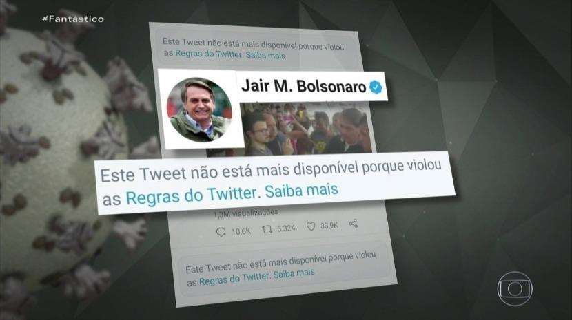Covid-19: Twitter apaga vídeos de Bolsonaro por violarem recomendações para se conter surto